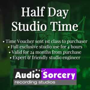 Half Day Studio Time voucher purchase at Audio Sorcery Recording Studios