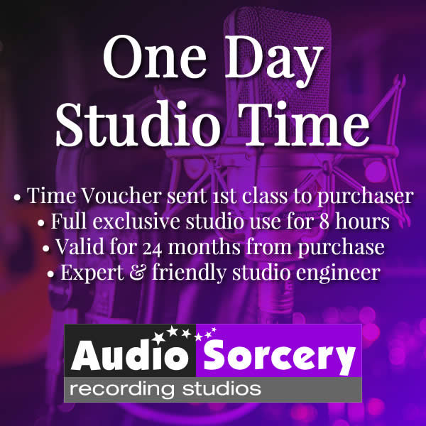 One Day Studio Time voucher purchase at Audio Sorcery Recording Studios