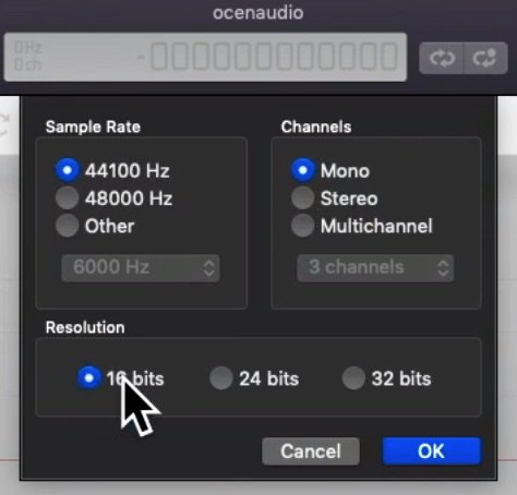 Recording audio settings for Big Finish
